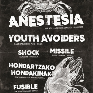 ANESTESIA + YOUTH AVOIDERS +MISSILE - SHOCK + FUSIBLE + HONDARTZAKO HONDA